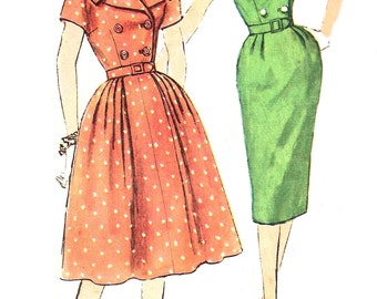 1960s Dress Pattern Half Size Slenderette Full or Slim Skirt Vintage Sewing Simplicity Women's Misses Size 20. 5 Bust 41 Inches
