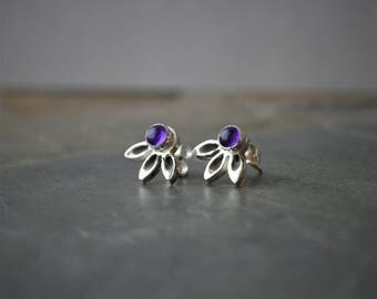 Coneflower Earrings, Fine Silver Earrings, Stud Earrings, Purple Amethyst Earrings, Flower Earrings, Botanical Earrings, February Birthstone