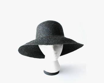 Vintage Black Wide Brim Straw Hat