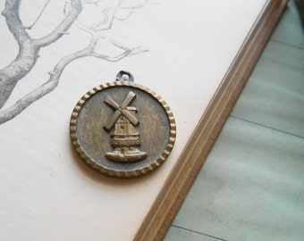 dutch windmill souvenir vintage charm or medal - athletic competition medal - vintage costume jewelry