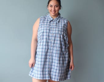 plus size dress | sleeveless plus size shirt dress | blue plaid summer dress | 1990s 3X-4X