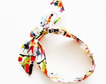 Retro Christmas Main Street Head Scarf / Rockabilly Skinny Neck Tie, Handbag or Walker Adornment, Pet Neckerchief / Unique Gift Under 25