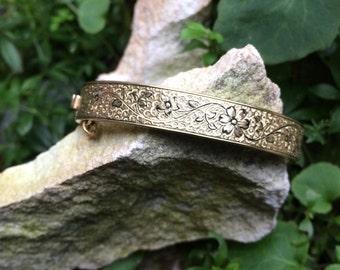 Victorian gold filled Taille D'Epargne bangle bracelet, vintage jewelry, antique bracelet, ladies accessories, enameled bangle, Mothers Day