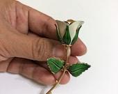 vintage GIOVANNI white rose brooch. enamel rose brooch. rose brooch