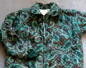 1960s Zip-Up Jacket - Vintage Mod Paisley Pattern Anorak in Green, Brown and Black - Medium Size