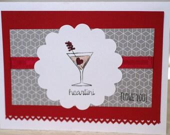 Handmade Romantic Card, Martini Card, Husband Card, Card for Her, I Love You Card, Anniversary Card, Miss You, Heart Greeting Card