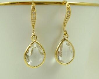 Crystal Teardrop Earrings - Bridal Crystal Earrings - Gold Bridal CZ Earrings - Prom Earrings - Gifts for Wives - Bridesmaid Gifts - For Her