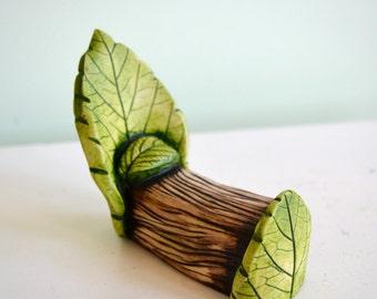 Fairy leaf bed for Fairy garden: cast marble stone