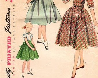1950s Simplicity 3645 Vintage Sewing Pattern Girl's Party Dress, Full Skirt Dress, One Piece Dress Size 8