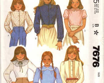 1980s McCall's 7676 Vintage Sewing Pattern Girls Blouse, Puff Sleeve Blouse, Long Sleeve Blouse Size 12