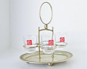 Royal Crystal Rock RCR Glasses, Silver Plated Holder Caddy Liqueur Set Vintage Barware Mid Century Mad Men Bar Gift Italy Toscana Glassware