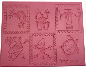 NEW Flexible Rubber Stamp Mat, Hand Drawn Image with Patchwork Symmetry, Deep Clean Impression, 7 x 9, Intaglio Pattern SW Patchwork