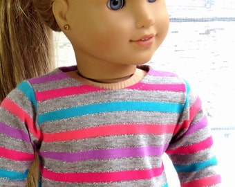 Sparkle Stripe Trendy Tee, 18 inch Doll T Shirt, Long Sleeve Shirt, 18 inch Doll Clothes