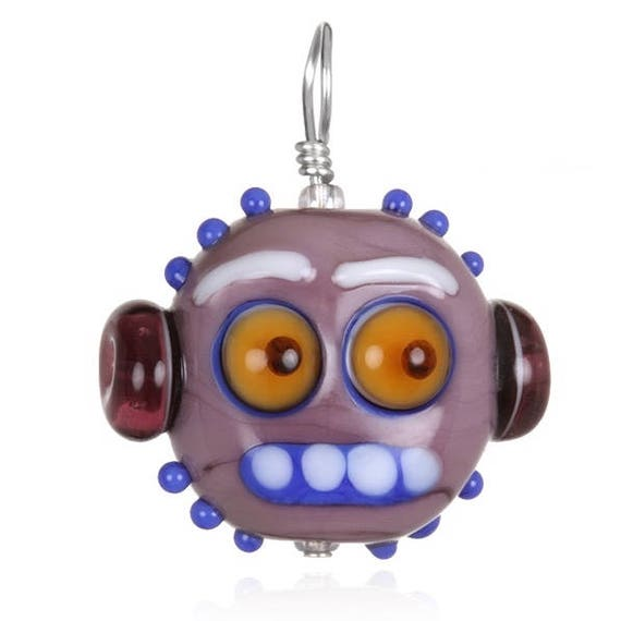 Glass Robot Zombie Pendant Necklace on Leather