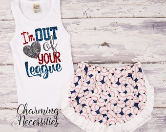 NEW I'm Out of Your League Tank Top and Ruffle Shorts Set, Fan Personalized, Summer Clothes, Baby Girl Outfits, by Charming Necessities Navy