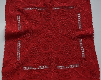 Red Valentine's Day Handkerchief Heavily Embroidered Silk Goth Steampunk Red Accessory