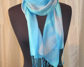 Turquoise Hand Painted Silk Scarf, One of a Kind, Designer Original, Made in USA