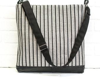 stripe, sling bag, shoulder bag, black stripe purse, messenger bag, cross body bag, repurposed leather, stacylynnc, book bag, travel bag