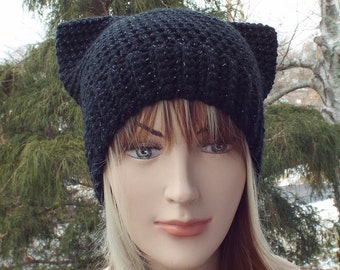 Metallic Black Pussy Cat Hat, Womens Crochet Hat, Pussycat Beanie, Hat with Ears, Black Cat Hat, Winter Hat