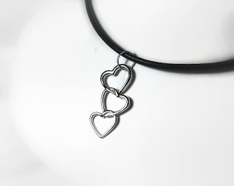 Sweetheart Pendant, Sterling Heart Necklace, Today Tomorrow Forever Pendant, Forever Linked Hearts