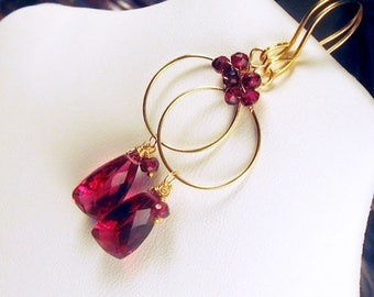 Garnet and Red Quartz Gold Filled Gemstone Hoop Earrings