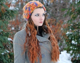 Fuzzy Orange and Purple Beanie Slouch Hat  Soft Warm Winter Tam Accessory  ready to shipGift