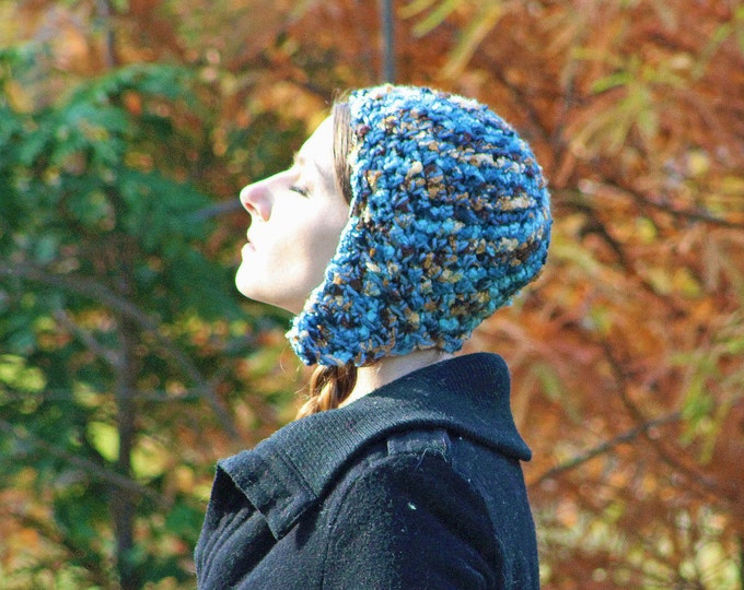 Brown and Blue  Earthy Tones EarFlap Hat Handmade Crochet Gift for Her or Him Kids Teens or Adults