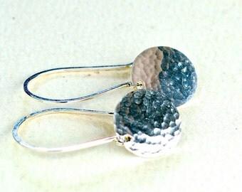 Speckle Earrings - silver dappled disc earrings, minimalist jewelry, hammered earrings, nautical minimalist earrings