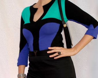Black, Green and Blue Graphic Keyhole Top, Rayon Elastane Jersey Knit, Long Sleeve, Womens Fashion Handmade in Australia
