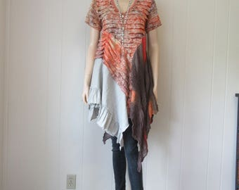 RESERVED for GP Boho Gypsy Tunic Ruffled Shabby Eco Chic Rust Brown Sand Distressed Dyed & Printed One Size Fits S - L