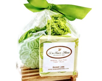 Soap Gift Bag, Sugar Lime Soap Gift Set includes 1 full bar, Lime Bath Bomb & Hand knitted Soap Saver and Soap Dish.  Mother's Day Gift