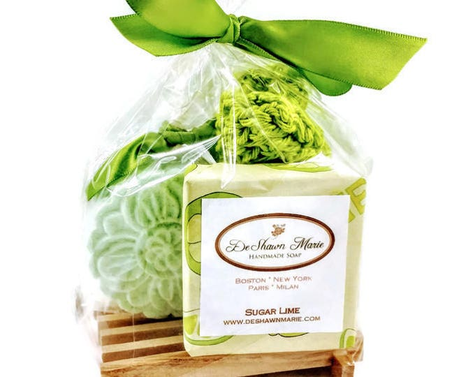 SALE Soap Gift Bag, Sugar Lime Soap Gift Set includes 1 full bar, Lime Bath Bomb & Hand knitted Soap Saver and Soap Dish.  Mother's Day Gift