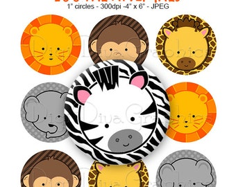 Zoo Animal Pals Bottle Cap Images 1 Inch Circles Digital JPG - Instant Download - BC1001