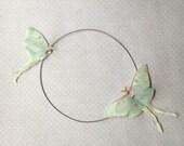 Flying - Handmade Luna Moth (Actias Luna) Butterflies Necklace Choker in Cotton and Silk Organza - Reserved
