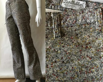 1970's Landlubber speckled corduroy bell bottoms, in cream, black, rust red, and golden yellow - waist 33 / size 6 / 33.5 inseam