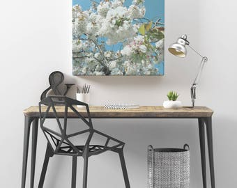 Cherry Blossom Art, Spring Decor, Blue and White Wall Art - Spring Blooms