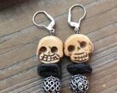Carved Bone skull earrings with silver Black Tourmaline Halloween