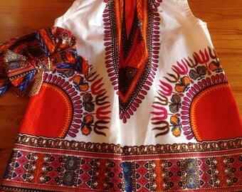 Girls African Dashiki Ankara Angelina print dress with head tie, 1-5 years