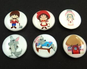 6 Red Riding Hood Buttons. Red Riding Hood, Grandmother, Wolf Buttons.  Cute Handmade Sewing or Novelty Buttons.