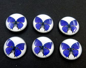 6 Dark Purple Butterfly Decorative Novelty Buttons.