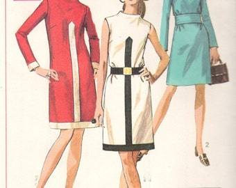 Simplicity 7940 1960s Misses Easy Mod Funnel Neck Dress Pattern Mondrian Contrast Womens Vintage Sewing Pattern Size 12 Bust 34 or 9 UNCUT