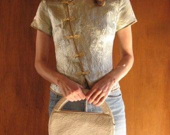 ROUND OSTRICH LEATHER purse