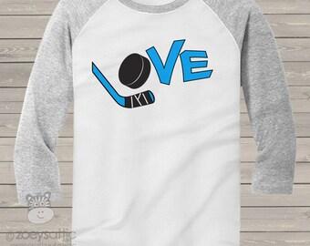 Hockey LOVE three quarter sleeve ADULT raglan shirt - choose your print colors HLAR