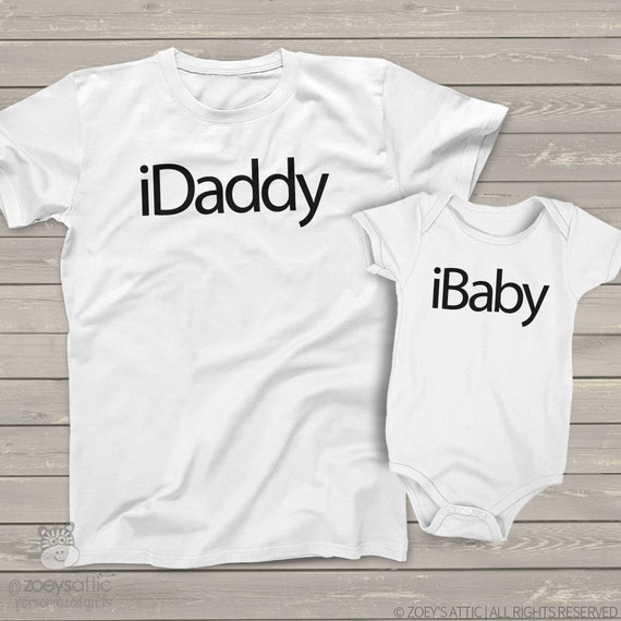 iDaddy and iBaby (or iKid) matching dad and kiddo t-shirt or bodysuit gift set - perfect for the techy dad or dad to be MDF1-020