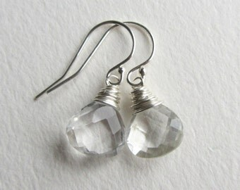Bridal Jewelry Made in Seattle - Summer Bride - Wedding Accessories - Faceted Dangle and Drop Rock Crystal Quartz Earrings Sterling Silver