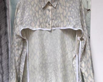 Cloudy silk blouse crop top belt upcycled vintage