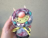 OOAK Needle felted Crazy Eyed Monster Toy Shelf Sitter Ready to Ship