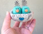 Needle Felted Baby Birds in a Love Nest