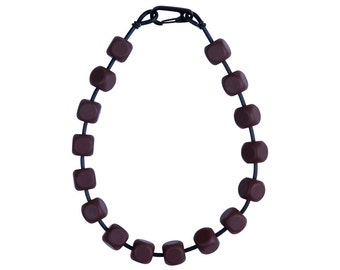 Chocolate brown  geometric necklace, designed by Frank Ideas