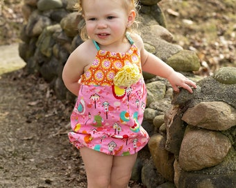 Summer Romper - Toddler Girls Clothes - Beach Outfit  - Baby Shower Gift - Summer Outfit - Pink Bubble Romper - Handmade - 6 months to 4 yrs